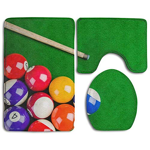 On Green Table with Billiard Cue Snooker Pool Game Bathroom Rug 3 Piece Bath Mat Set Contour Rug and Lid Cover ()