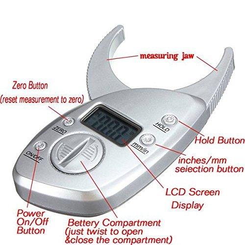 Qiorange 50mm Digital LCD Körperfettzange Hautfaltendicke Mess Gesundheit Fitness Gewichts Körperfettüberwachung Körperfettmessgerät zur Körperfettanalyse - 4