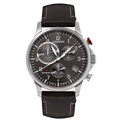 Junkers Homme Analogique-Digital Chronomètre Montre avec Bracelet en Cuir 68922