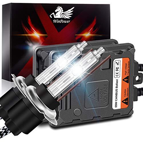 WinPower H7 55W AutoHID Xenon Kit mit Vorschaltgerät und CAN-Bus Super DecoderScheinwerfer Ersatz Birne 6000K Reines Weiß,2 Stücke
