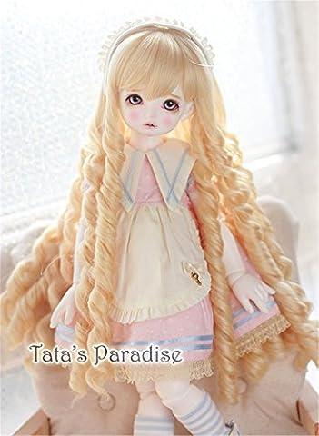 Tita-Doremi BJD Poupée Perruque Ball-jointed Doll 1/4 7-8 Inch Mini Dollfie SD10 MDD MSD Volks AOD Minifee DOD LUTS DZ Doll Blonde Perruque Cheveux 18-19cm (Perruque Seulement,pas une poupée )