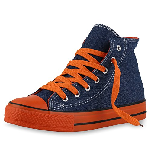 best-boots Donna Uomo scarpe da ginnastica Denim Orange Nuovo