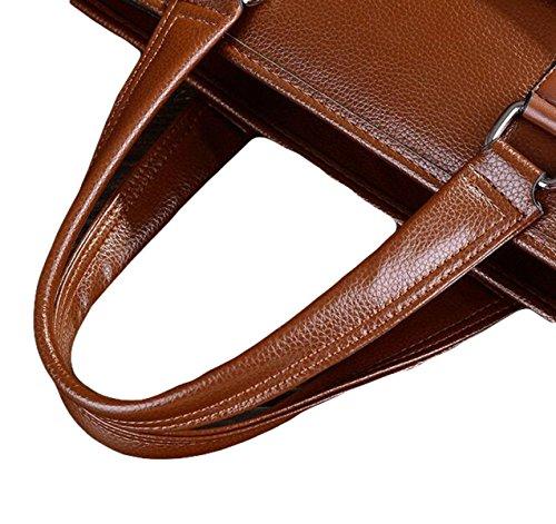 Männer Beutel Lychee Muster Einfache Beiläufige Große Beutelschulter Schräge Querhandtasche Aktenkoffer Brown