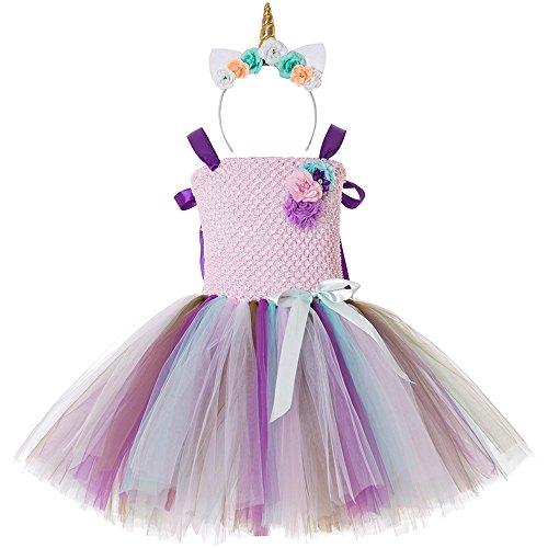 Warehouse Kostüm 13 - CIELARKO Einhorn Kleider für Mädchen mit Einhorn Stirnband Kostüm Zu Geburtstag Cosplay Blumen Prinzessin Kleidung