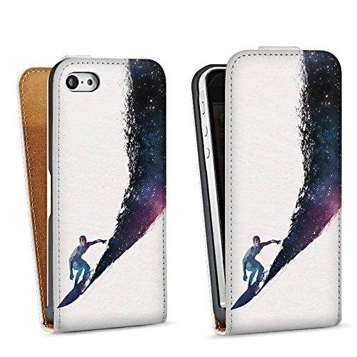 Apple iPhone 5s Housse Étui Protection Coque Surfeur Univers Vague Sac Downflip blanc