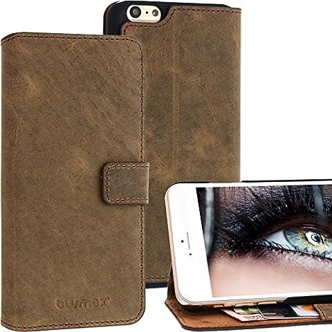 """Blumax® Case Leder für Apple iPhone 6 / 6s / Plus Handyhülle 4,7"""" bis 5,5"""" Zoll Farbe braun mit Magnet Case Leder Handytasche Smartphone Lederhülle Ledertasche"""