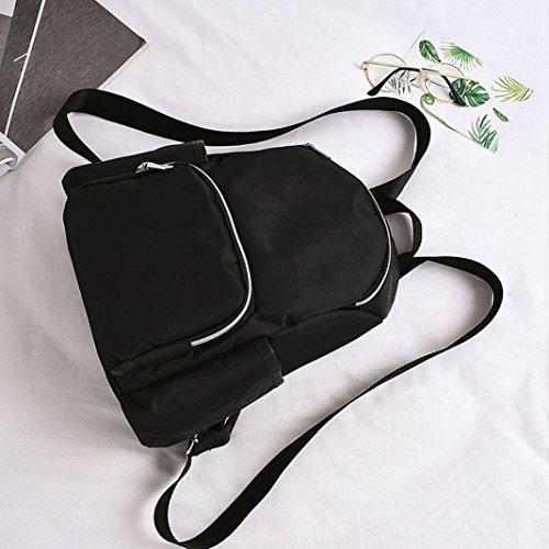 Longra Donna Sacchetto di spalla di nylon di modo, zaino degli uomini e delle donne, sacchetto di corsa Nero
