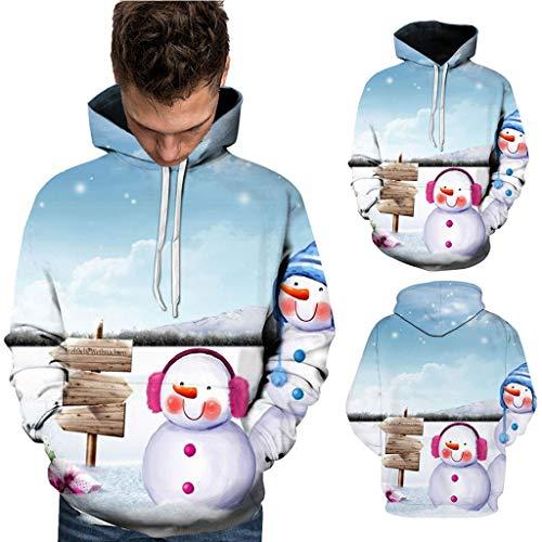 ODRD Christmas Sweatshirts Herren Hoodie Weihnachtspullover - Xmas Unisex 3D Schneemann führt Dich Ugly Sweatshirt Sweater - Hässliche Pulli Lustig Weihnachtspulli Damen Weihnachtsparty S~5XL -