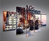 Quadro moderno Porto Container Di Amburgo Porta MFP Stampa su tela - Quadro x poltrone salotto cucina mobili ufficio casa - fotografica formato XXL