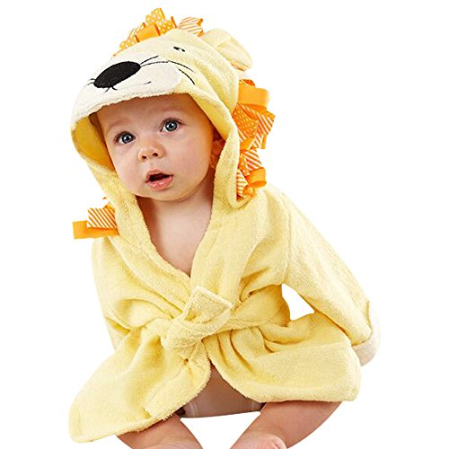 Kinder Bademäntel Baby Cotton Animal Bade Strickjacke Cardigan Nightgown Spa Handtuch Strandtuch (Löwe) (Yellow, M)