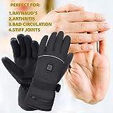 Mermaid Beheizte Handschuhe mit 7.4V-Akkus, Herrenhandschuhe für chronisch kalte Hand, Handwärmer-Handschuhe Erhitzte Motorradhandschuhe für Geschenke, Jagd, Arbeiten im Freien (Schwarz XL) - 6