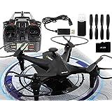 "Drone Video Foto HD Kamera GYD Follower ""black"" Quadcopter mit Gyro, 2,4GHz und Salto Funktion und Kamera Headless Mode und One Key Return LED"