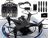 GYD Drone Video Foto HD Kamera Follower black Quadcopter mit Gyro, 2,4GHz und Salto Funktion und Kamera Headless Mode und One Key Return LED
