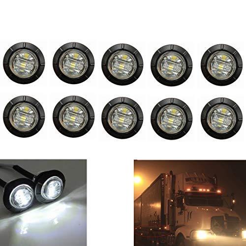 """VIGORFLYRUN PARTS LTD 10pcs 3 LED 3/4\"""" Seitenmarkierungsleuchte Rund Abstand Licht, Umrissleuchte Begrenzungsleuchte Positionsleuchte für 12V LKW Anhänger Bus Van Parkleuchten - Weiß"""
