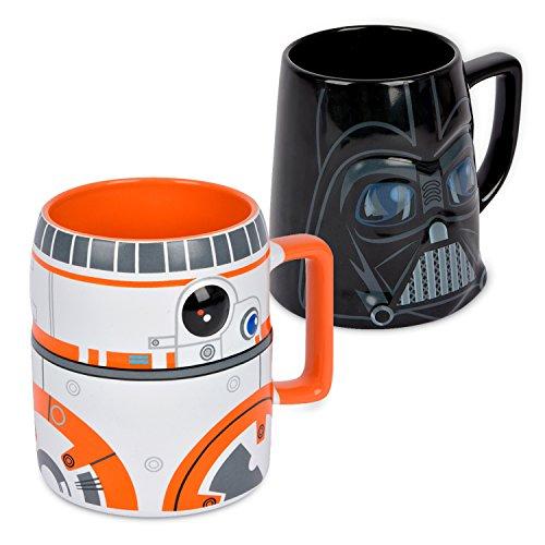 Ideal casa Pack de 2 Tazas de gres. Mugs con Relieve de los Personajes de Star Wars BB-8 y Darth Vader