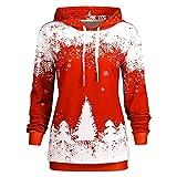 MRULIC Damen Weihnachten Sweatshirt Weihnachtsmann Muster lässig Langarm Tops Kapuzenpulli Bluse Tank Tops Xmasshirt Herbst Winter Hoodies(A-Rot,EU-38/CN-L)