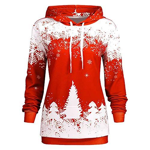 MIRRAY Damen Weihnachten Kapuzenpullover Schneeflocke Gedruckt Hooded Lange Ärmel Pullover Langarm Sweatshirt Bluse Hooded Sweatshirt Medium Baumwolle