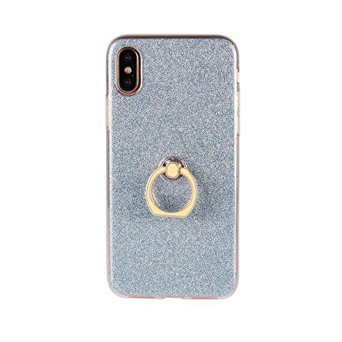 Meimeiwu Ultra Thin TPU Schutzhülle Case Hülle mit 360 Grad Rotierende Ring Ständer für iPhone 8 - Schwarz Blau