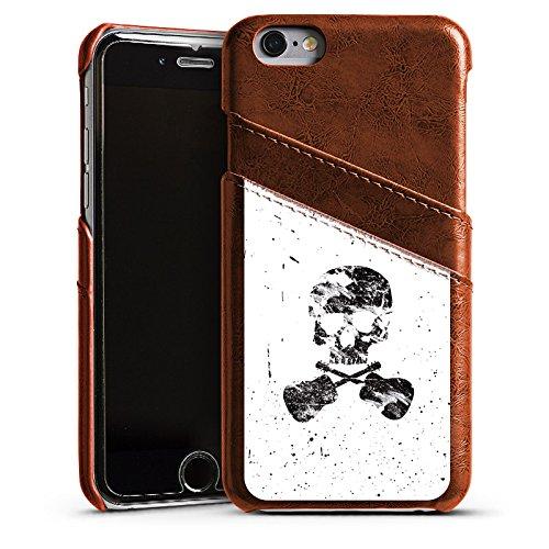 Apple iPhone 4 Housse Étui Silicone Coque Protection Un poète mort Tête de mort Crâne Étui en cuir marron