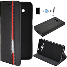 E-Max 4 en 1 Funda Carcasa Cuero Tapa Case Cover Para Samsung Galaxy Grand Prime G530, G530H G530FZ G5308W G5309W G5306W + el protector de la película + Stylus, Negro1