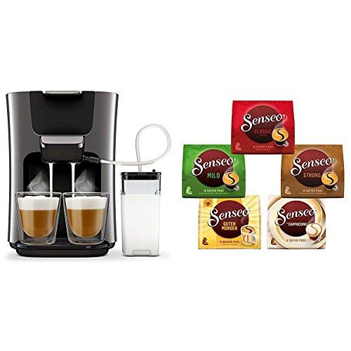 Philips HD6574/50 Kaffeepadmaschine (Senseo Latte Duo, 2 Kaffee frische Milch) titanium, mit Senseo Vielfaltspack