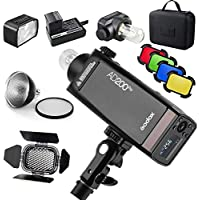 Godox AD200 Pro Version, 200Ws 2.4G Flash, 1/8000 HSS, 500 Flashes a Plena Potencia, 0.01-2.1s Recycling, Tiempo de Reciclaje para DSLR cámara con Kit BD-07 Barndoor y difusor
