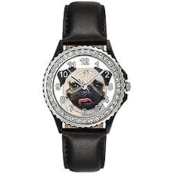 Reloj de cuero color negro para mujer con piedrecillas y diseño carlino