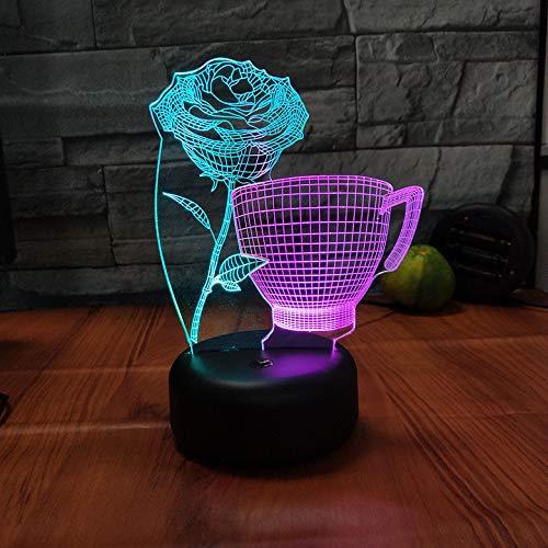 Nachtlichter 7 Farbe Illusion 2 Farben Tischlampe Cup Blume Hause Beleuchtung Kann Fernbedienung Touch Schlaf Beleuchtung Angepasst Werden Blumen-cup 2