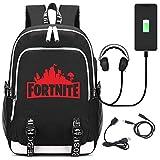 Fortnite Rucksack Schulrucksack mit USB , Unisex Schulrucksack Rucksäcke Schulranzen Schultasche Tasche Travel Sport Outdoor Rucksack für Schüler Jugendliche Kinder (rot)