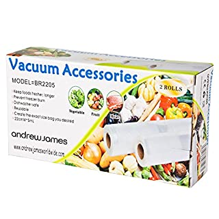 Andrew James Vacuum Sealer Bags | 22cm x 10m (2 x 5m Rolls) Embossed Packaging | Food Vacuum Sealer Accessories | Reusable Dishwasher Microwave & Freezer Safe