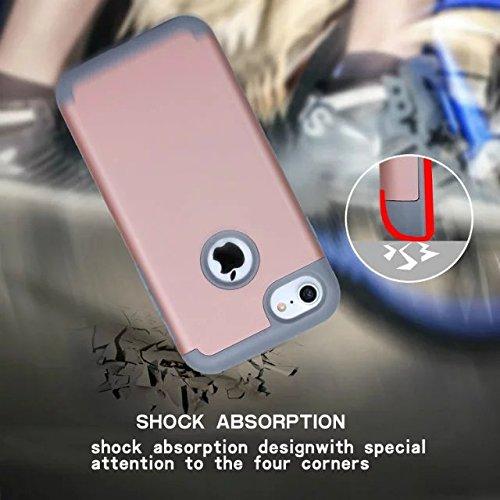 iPhone 7 Coque,Lantier Thin Frosted Matte Finish design antichoc 2 en 1 Combo Protection Defender Cover Retour Coque pour Apple iPhone 7 4.7 pouces 2016 Noir+Gris Rose Gold+Grey