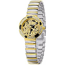 Fashion Leopard Spotluxury Rhinestone Alloy Strap Quartz Women Wrist Watch,Silver-Gold