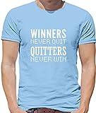 Dressdown Winners Never Quit - Herren T-Shirt - Himmelblau - XXL