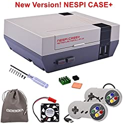 Retroflag NESPi Case + Plus con controladores de juego con cable USB y ventilador de refrigeración y disipadores térmicos para RetroPie Raspberry Pi 3/2 modelo B y Raspberry Pi 3B +