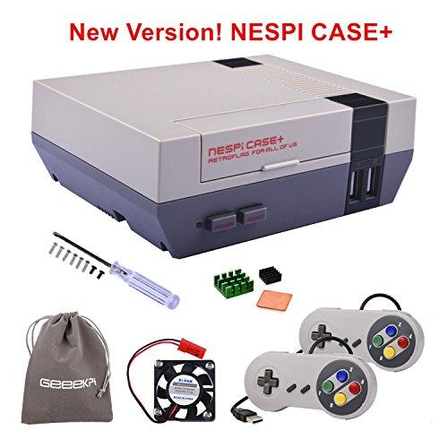 RetroFlag NESPi Case + Plus mit USB Kabel Gamecontroller & Lüfter & Kühlkörper für RetroPie Raspberry Pi 3/2 Modell B & Raspberry Pi 3B + (Raspberry Case Nes Pi)