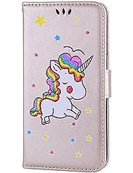 CXTcase Samsung Hülle Einhorn Bookstyle PU Leder Flip Wallet Case Cover Schutzhülle Tasche Handytasche Schutz Etui Schale Handyhülle