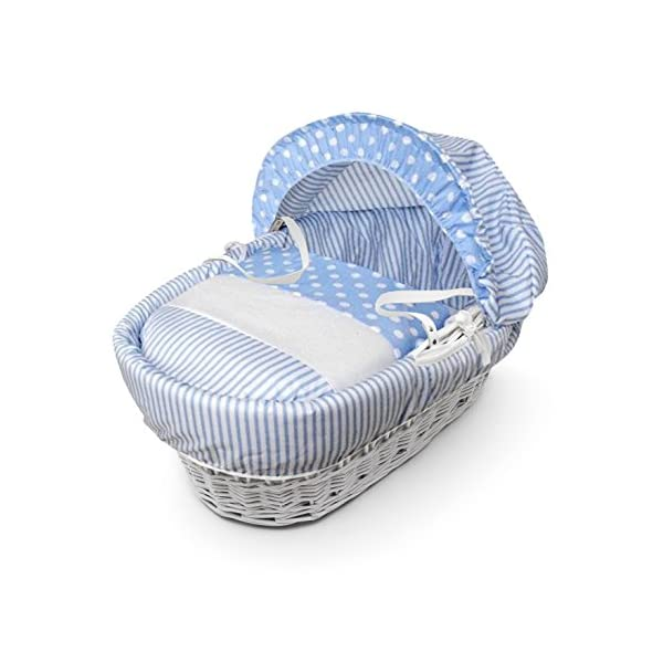 Blue Spots & Stripes White Wicker Moses Basket & Deluxe White Rocking Stand Elegant Baby Suitable from newborn for up to 9kg, this Moses Basket uses Easy-care Poly Cotton with a soft padding surround Suitable from newborn to 9 months It also includes a comfortable mattress and an adjustable hood perfect to create a cosy sleeping space for your precious little one 2