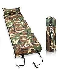 Couchage avec oreiller autogonflant - Imperméable et léger - Rembourrage en mousse- Idéal pour la randonnée -Camping ou activité de plein air