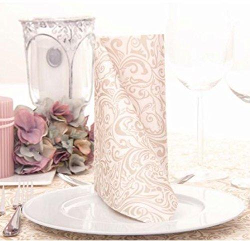 50 Servietten, stoffähnlich, Airlaid Ornaments Champagner Creme 40 cm x 40 cm für Hochzeit Verlobung Taufe Weihnachten ...