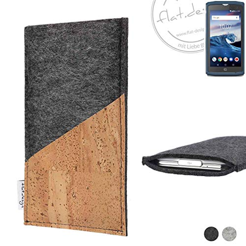 flat.design Handy Hülle Evora für Crosscall Core-X3 handgefertigte Handytasche Kork Filz Tasche Case fair dunkelgrau
