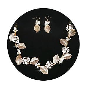 AmDxD Vergoldet Damen Haar Schmuck Set Ohrringe Perlen Blatt Haarbänder Hochzeit Gold
