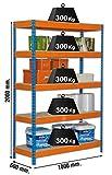 Estantería metálica de media carga Bricoforte 5 estantes Azul/Naranja/Madera Simonrack 2000x1000x600 mms - Estantería media carga - Estantería industr