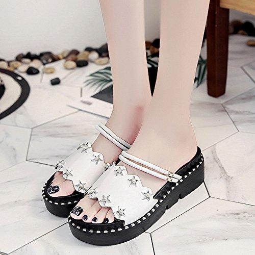 XY&GKDonna Sandali con una parola pantofole, Femmina Estate fondo spesso al di fuori della moda, indossando Beach pendenza con scarpe da donna, 36, bianco,con il migliore servizio 41white
