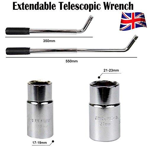 extensible Roue Brace Clé télescopique 350-550 mm Pneu 17 mm 19 mm 21 mm 23 mm prises pour voiture van Écrous à enlever.
