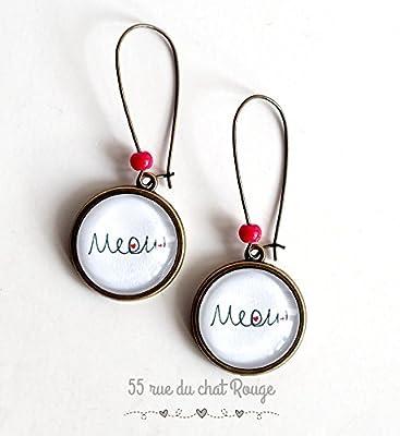 Boucles d'oreilles cabochon, Miaou fait le Chat, Meow, noir et blanc, perle rouge, cadeau noël