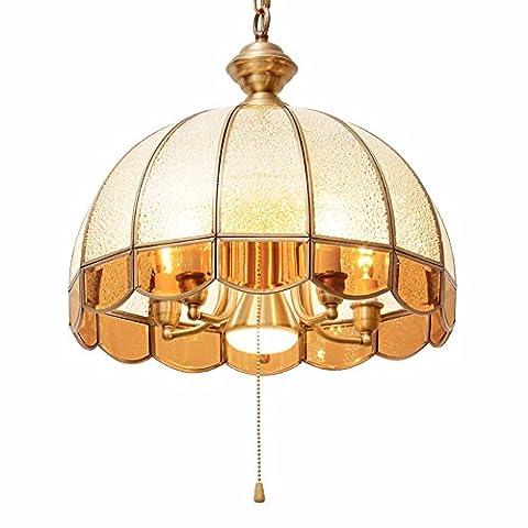 GZLitht Lampes Suspendues Pendentif Toutes les lentilles en verre rétro Cuivre Le Corridor Restaurant,41*38cm