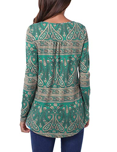 BAISHENGGT Lightweight Tunic Tops for Women, Womens Long Sleeve Crew Neck Casual Tunic Vintage Floral Bottom Pleated Shirts Large Green Floral