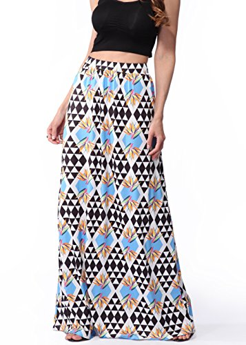 Frauen langer böhmischer hoch taillierter Hippierock Strand Maxi Kleid C0081