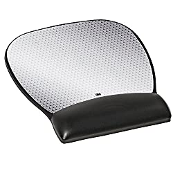 3M Precise Mouse Pad, Leatherette Gel Wrist Rest, Antimicrobial Protection, Battery Saving, 9.25 in x 8.75 in, Black