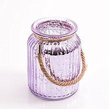 Vidrio para velas / Portavelas LAISA con asa, lila craquelado, 14,5 cm, Ø 10,5 cm - Decoración de mesa / Florero original - INNA Glas